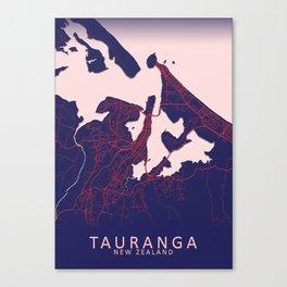 Tauranga, New Zealand, Blue, White, City, Map Canvas Print