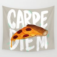 carpe diem Wall Tapestries featuring Carpe Diem by Vaughn Pinpin