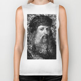 LEONARDO DA VINCI (BLACK & WHITE VERSION) Biker Tank