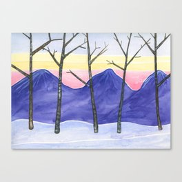 Five Trees in Winter Canvas Print