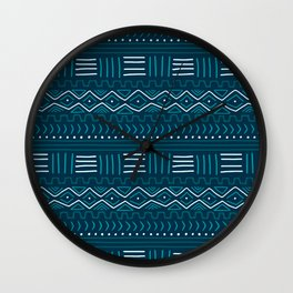 Mudcloth on Teal Wall Clock