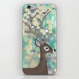 white tailed deer, white breasted nuthatches, & dogwood blossoms iPhone Skin