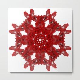 Red Ink Drop in Water - Mandala Metal Print
