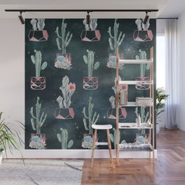 Rose Gold Desert Potted Cactuses and Succulents Night Sky Wall Mural