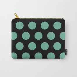 Colorful Mid Century Modern Polka Dots 528 Turquoise and Black Carry-All Pouch