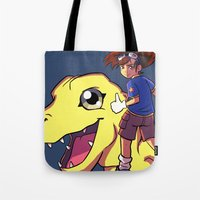 digimon Tote Bags featuring Digimon by Viga Victoria Gadson