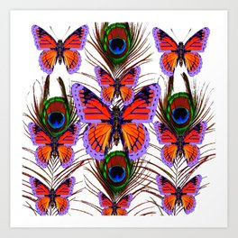 LILAC  FANTASY BUTTERFLIES GREEN PEACOCK EYES Art Print