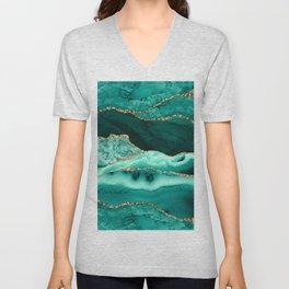 Ocean Waves Marble Emerald And Golden Unisex V-Neck