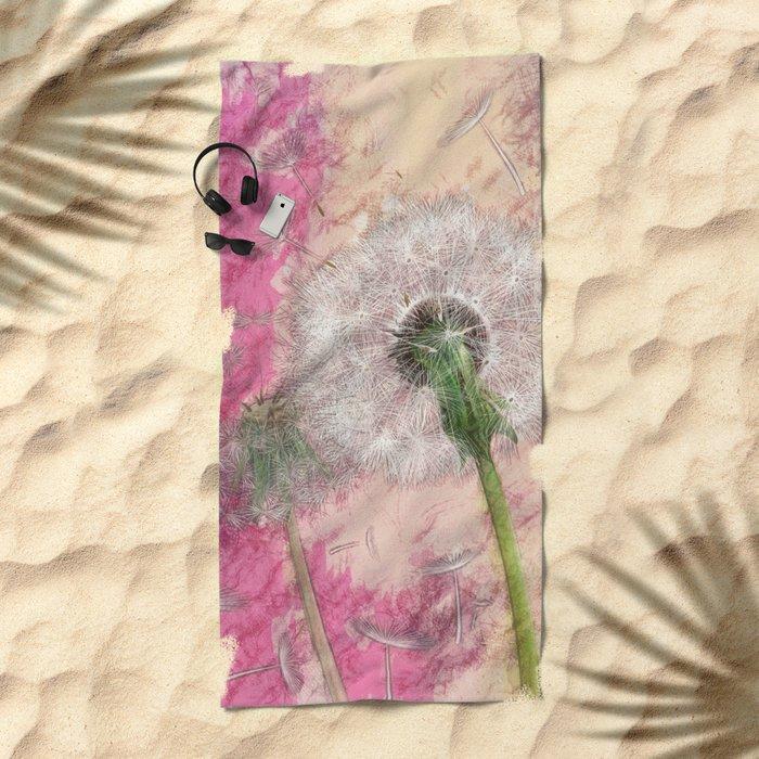 Dandelion - pastel fantasy Beach Towel