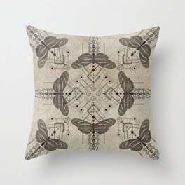 Sacred  Geometry  Zebra Longwing Butterfly Throw Pillow