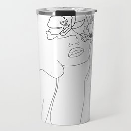 Minimal Line Art Woman with Flowers Travel Mug