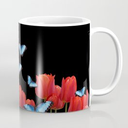 Red tulips blue morph butterfly - black background #society6 Coffee Mug