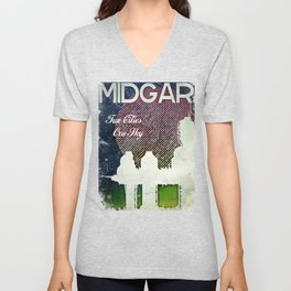 Final Fantasy VII - Midgar Tribute Poster *Distressed* Unisex V-Neck