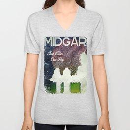 Final Fantasy VII - Midgar Tribute Poster *Distressed* Unisex V-Neck