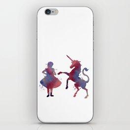 Girl with unicorn iPhone Skin