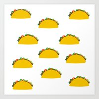 taco Art Prints featuring Taco  by Beautiful Artworks