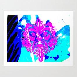 Pink man Blue Art Print