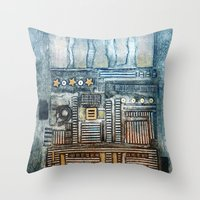 cityscape Throw Pillows featuring Cityscape by Maureen Mitchell