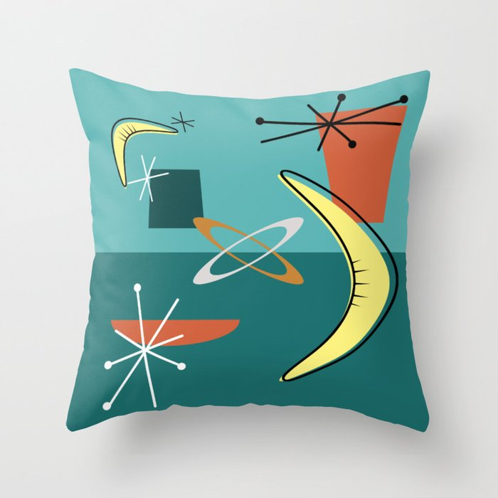 Turquoise Atomic Era Space Age Throw Pillow