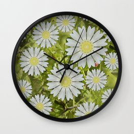 Abstract daisies in underbrush Wall Clock