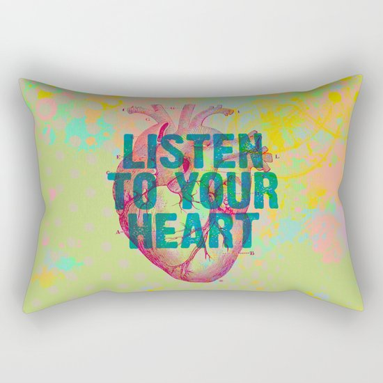 Listen To Your Heart Rectangular Pillow