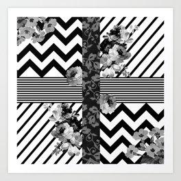 Trendy Black and White Floral Lace Stripes Chevron Art Print