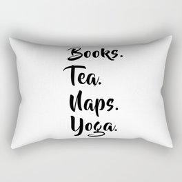 Books. Tea. Naps. Yoga. Rectangular Pillow