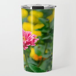 Pink flower, in green and yelow Travel Mug