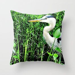 Heron On The Trails Throw Pillow