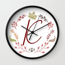 Floral K letter Wall Clock