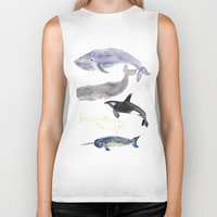 whales Biker Tanks featuring WHALES by Shannon Kirsten