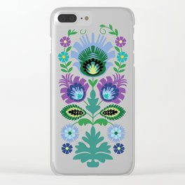 Polish Folk Flowers Light Blue Clear iPhone Case