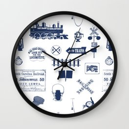 Railroad Symbols // Navy Blue Wall Clock