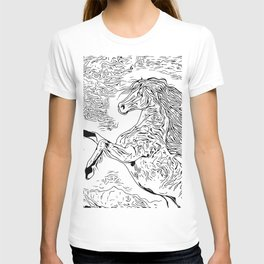Inky Black and White -Horse T-shirt