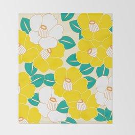 Shades of Tsubaki - Yellow & White Throw Blanket