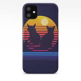 Cats Retro Synthwave Sunset Together Forever iPhone Case