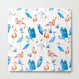 Pattern flamingo & cactus Metal Print