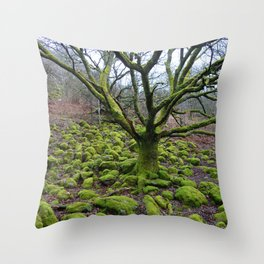 Mossy Green Tree and Rocks Throw Pillow