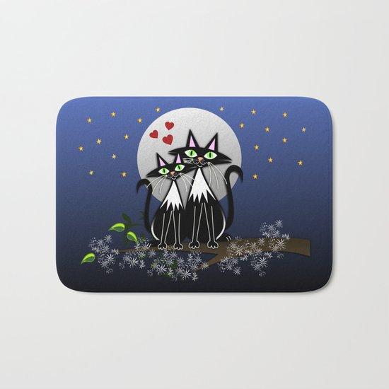 Spring cats in love, vector illustration Bath Mat
