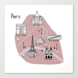 Mapping Paris - Pink Canvas Print