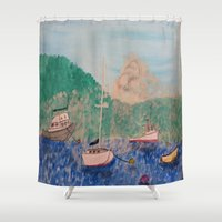boats Shower Curtains featuring boats by L Step