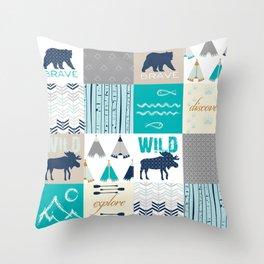 Woodland Cabin Decor Cheater Quilt Navy Aqua Grey Throw Pillow