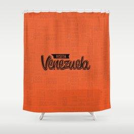 Venezuela - Lettering Design with orange background Shower Curtain