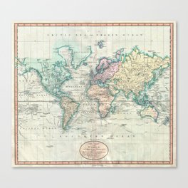 Vintage Map of The World (1801) Canvas Print