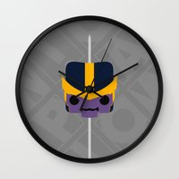 thanos Wall Clocks featuring Marshmallow Thanos by Oblivion Creative