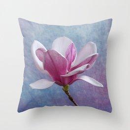 Pink Magnolia Flower Throw Pillow