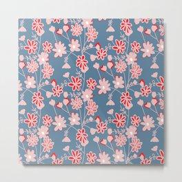 Red-Pink Flower Pattern Metal Print