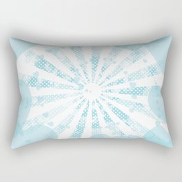 Pop art sky blue illustration on the background of hearts Rectangular Pillow