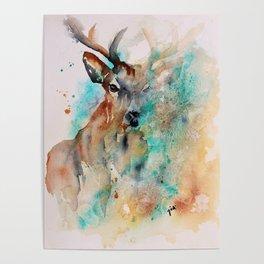 Abstract Deer Watercolor Poster