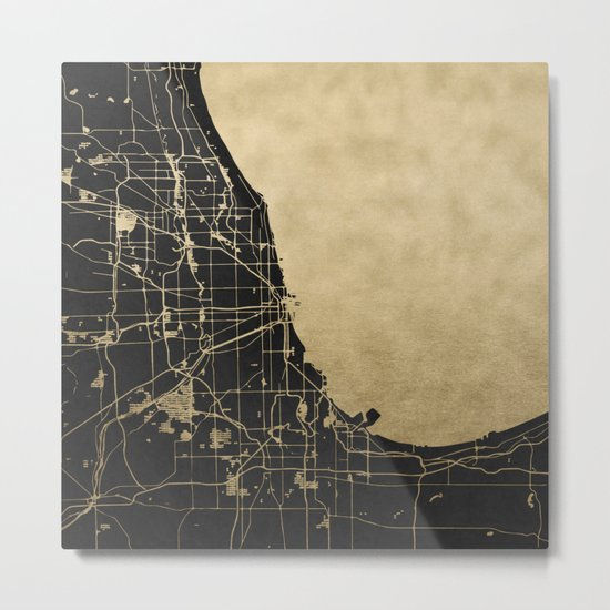 Chicago Black and Gold Street Map Metal Print